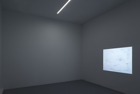 Installation view - Video projection and steel on wall, dimmable strip lights (UBS Gallery, Red Hook, NY)