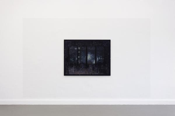 Installation view - 2016, Acrylic on wall, UV-print and oil on wood (Academy of Fine Arts (HfbK), Hamburg)