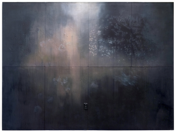VON ANDEREN WELTEN, 07/2014 - Oil on wall, 95 x 127 in. / 241 x 322 cm (sawed out, exists in 8 pieces)