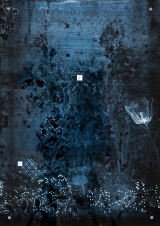 Käthe - 2018, UV-print and oil on glass, detail