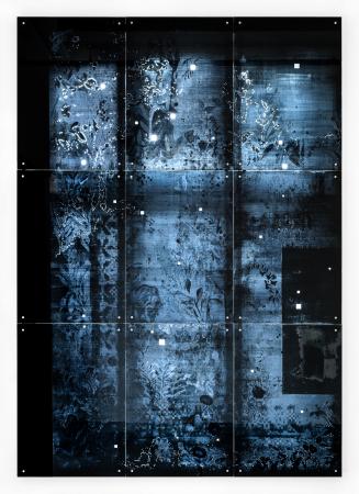 Käthe VI - 2018, UV-print and oil on glass, 114.6 x 160.6 in. / 291 x 408 cm, detail