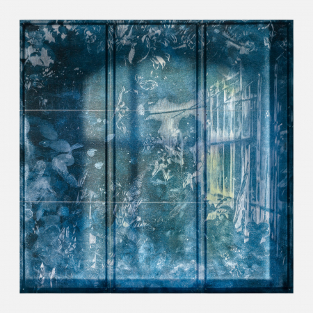 Interior Garden - 2021, UV-print, etching needle and oil on glass, 108.7 x 108.7 in. / 276 x 276 cm