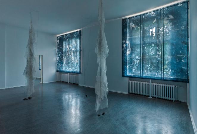 Interior Garden - 2021, UV-print, etching needle and oil on glass, installation view Museum Reinickendorf Berlin