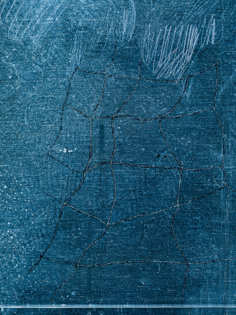 Interior Garden - 2021, UV-print, etching needle and oil on glass, detail